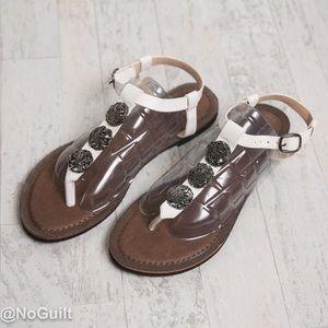 White Medallion T-Strap Sandal Size 8 by Corkys